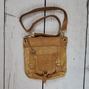 The sake brown leather crossbody purse handbag